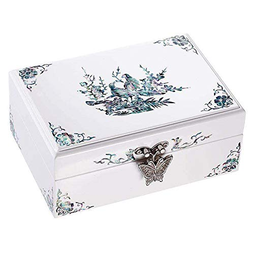 HAIHF Jewellery Box with Mother of Pearl,Hand painted Lacquered Jewellery Box with Bird & Flower Artwork, Chinese Oriental Furniture & Gifts ()