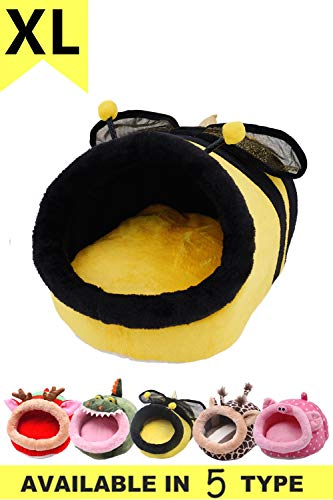 JanYoo Bunny Hedgehog Guinea Pig Bed Accessories Cage Toys Bearded Dragon House Hamster Supplies Habitat Ferret Rat (XL, Bee)