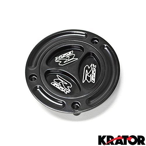 Krator RC061 Fuel Keyless Gas Cap for Suzuki Logo Engraved Twist Off Fueltank-GSXR 600/750/1000/1300 Hayabusa SV650/650S SV1000/1000S (2003-2010)