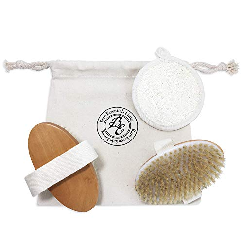 Dry Skin Body Brush and Loofah Pad Set with Gift|Travel Bag for Dry Brushing, Exfoliating Face and Body, Reduce Cellulite, Remove Dead Skin and Prevent Ingrown Hairs and Acne by Bare Essentials Living