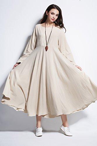 Y93D Dress Spring Plus Linen Size Cream layer amp;cotton Fall Double Yellowish Anysize Dress Winter X84Pqgq