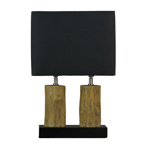 Cortesi Home CH TL303110 Double Logs Table Lamp With Black Shades