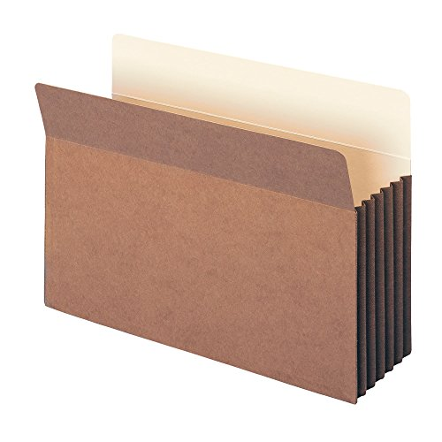 "Smead TUFF Pocket File Pocket, Straight-Cut Tab, 5-1/4"" Expansion, Legal Size, Redrope, 10 per Box (74390)"