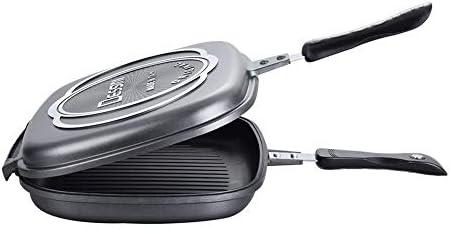 WANZSC Poêle à Frire Double Face poêle à Frire poêle Anti-adhésive Barbecue Pot Steak Pot Cuisine Batterie de Cuisine en Plein air Barbecue BBQ WF6261044LL (Taille : 32 CM)