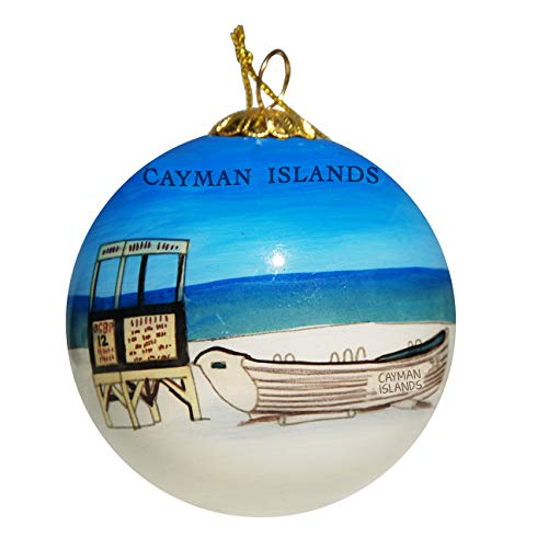 Art Studio Company Hand Painted Glass Christmas Ornament - Lifeguard Stand & Boat Cayman Islands ()