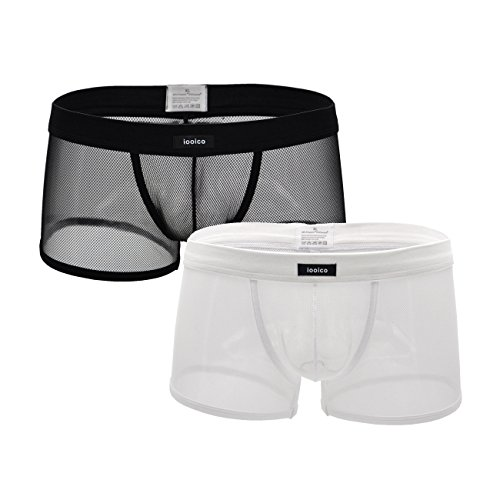 iooico Men's Boxer Briefs , Soft Mesh Underpants See-through Underwear Black+White XX-Large