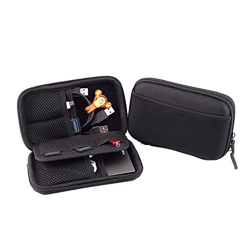 Honeystore Electronics Travel Organizer Hard Case Gadget Storage Bag Cable Cord Organizer Box Travel Gadget Organizer Bag Universal Travel Case for Small Electronics and Accessories Black