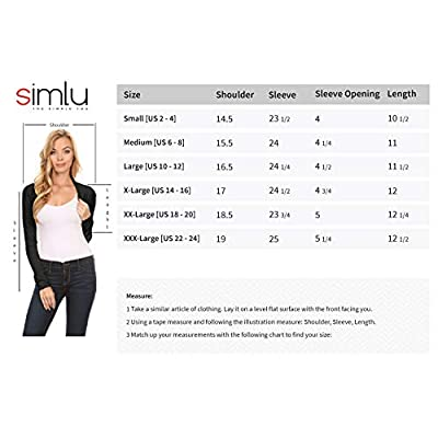 Simlu Long Sleeve Bolero Shrug for Women - Made in USA at Women's Clothing store
