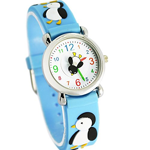 Jewtme Cute Toddler Children Kids Watches Ages 3-8 Analog Time Teacher 3D Silicone Band Cartoon Watch for Little Girls Boys-Penguin Blue