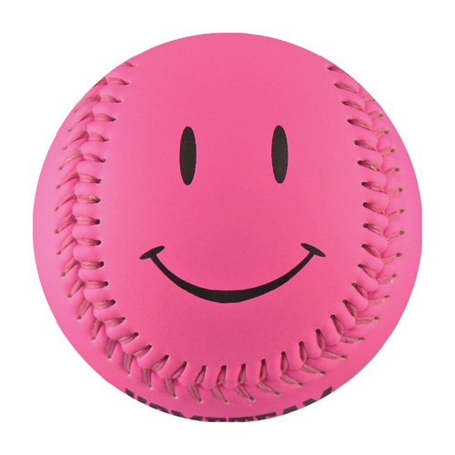 EnjoyLife Inc Hot Pink Smiley Face Baseball (Rubber (Baseball Smiley Face)