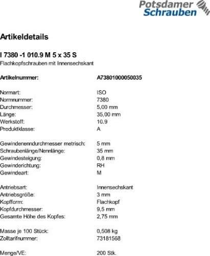 200 Inbus Linsenkopfschrauben ISO 7380-1 10.9 schwarz M5x35