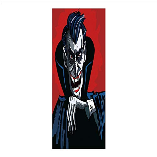 3D Decorative Film Privacy Window Film No Glue,Vampire,Cartoon Cruel Old Man with Cape Sharp Teeth Evil Creepy Smile Halloween Theme,Blue Red Grey,for Home&Office