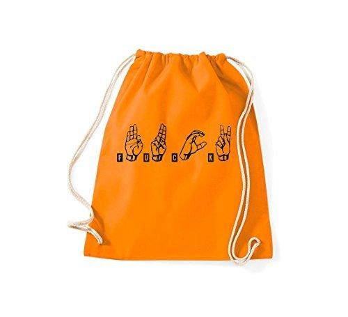 Shirtstown Bolsa de deportes Lenguaje de señas JODER Naranja
