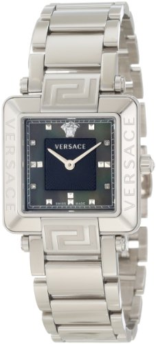 Versace Women's 88Q99SD008 S099 Reve Carrè Black Mother-Of-Pearl Diamond Steel Bracelet Watch