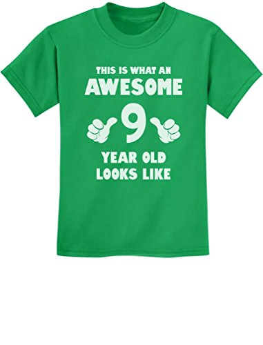 TeeStars - This is What an Awesome 9 Year Old Looks Like Youth Kids T-Shirt Medium Green