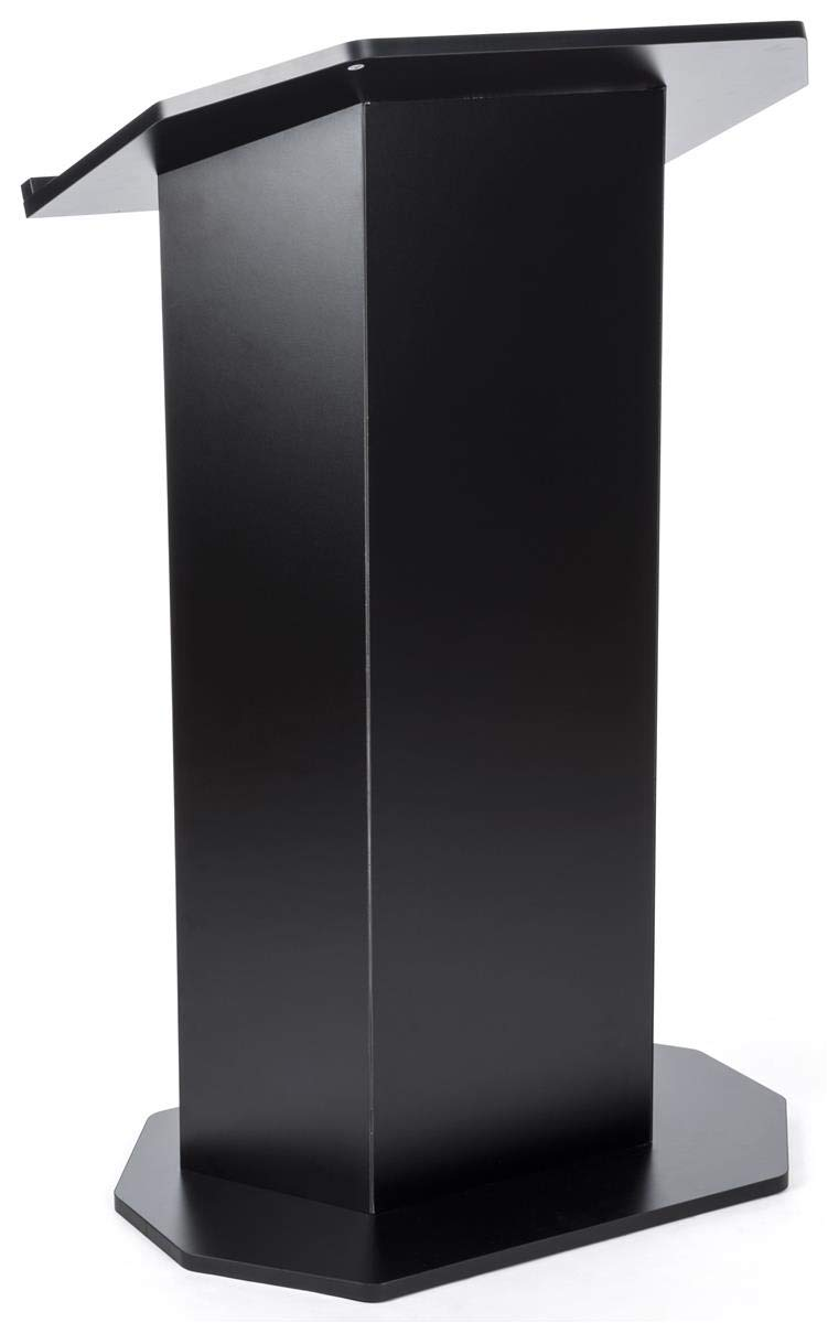 Displays2go Floor Podium with Reading Surface - Black (OLILCTOPBBK)