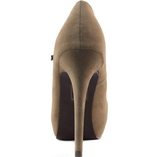 Sandalia De Tacón Alto Para Mujer Pu Ajustable En Cuero Hebilla Maryjane Bomba De Tacón Alto Zapatillas De Moda Taupe Suede