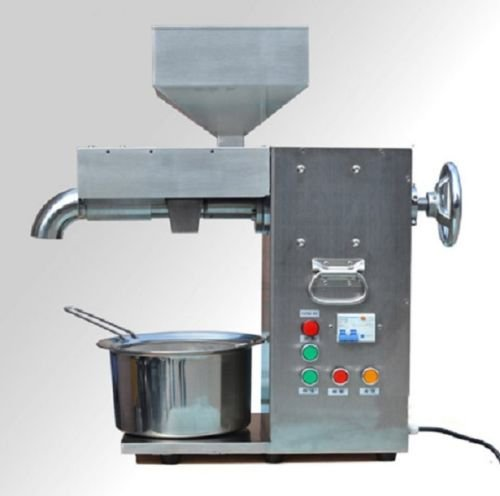 JIAWANSHUN 30kg/h Commercial Electric Hot and Cold Oil Presser / High Power Oil Press Machine Stainless Steel 1500W (110V)