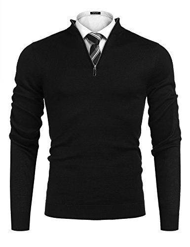 Simbama Mens Mock Neck Turtleneck Pullover Slim Fit Quarter Zip-Up Polo Sweater Long Sleeve