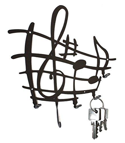 Sheets Hook - Key Hook Sheet of Music - Clef -Wall Key Holder, Metal, Black