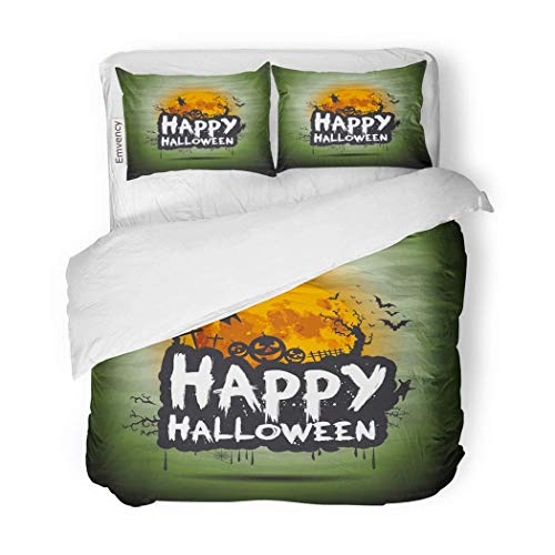 PENGTU PremiumDuvet Cover Set Happy Halloween Night Sign Text Flying Moon Party Decorative Bedding Set with 2 Pillow Cases King -