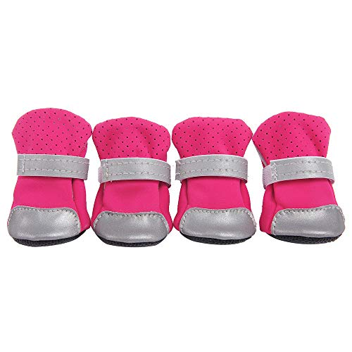 XBKPLO Pet Dog Shoes Boots 4 Pcs Breathable Anti-Slip Cute Puppy Spring Summer Paws Protective Reflective Straps