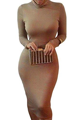 Womens Sexy Long Sleeve Turtleneck Dress Bodycon Midi Bandage Club Party Dresses