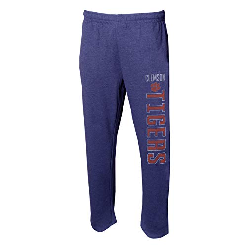 Concepts Sport Men's NCAA -Squeeze Play- Terry Cloth Sleepwear Pajama Pants-Heathered-Clemson Tigers-Large