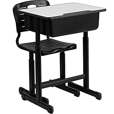 Leoneva Height Adjustable Students Children Desk and Chairs Set: Kitchen & Dining