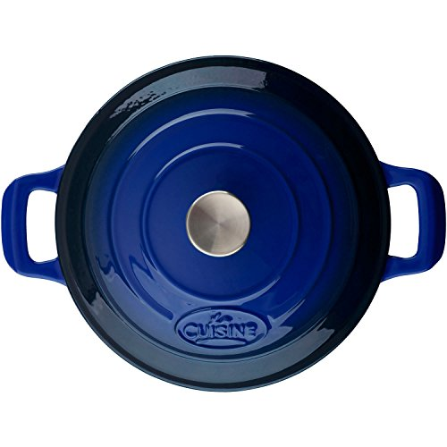 La Cuisine PRO Saute 3.75 Qt Enameled Cast Iron Covered Dutch Oven, Blue