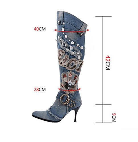 Knee Wedding Women High Winter Ladies Fashion Martin Boots Boots Denim Knight Large Size High Over Party Shoes Heels Thigh Denim Boots Kitzen Denim Blue Boots qwFxdUXEq