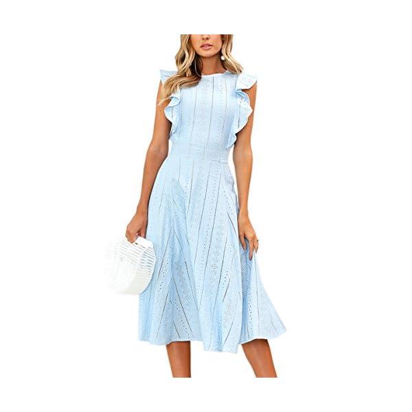9989fcf97004 ECOWISH Womens Dresses Elegant Ruffles Cap Sleeves Summer A-Line ...