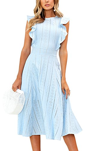 es Elegant Ruffles Cap Sleeves Summer A-Line Midi Dress Blue S ()