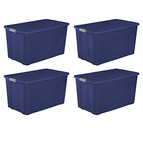 Sterilite 45-Gal Wheeled Latch Tote, Set of 4, Blue (Sterilite 45 Gallon 170 Liter Wheeled Latch Tote)