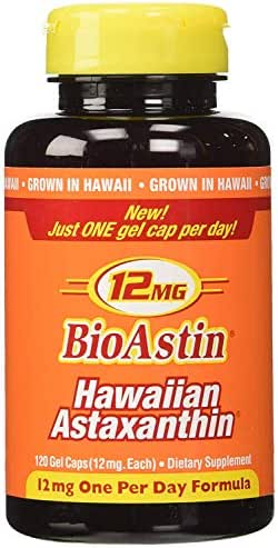 BioAstin Hawaiian Astaxanthin 12mg, 120ct -Hawaiian Grown Premium Antioxidant - Supports Recovery from Exercise + Joint, Skin, Eye Health Naturally
