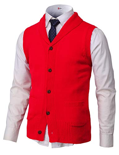 - H2H Mens Casual Shawl Collar Button Down Pullover Vests RED US 3XL/Asia 4XL (CMOV048)