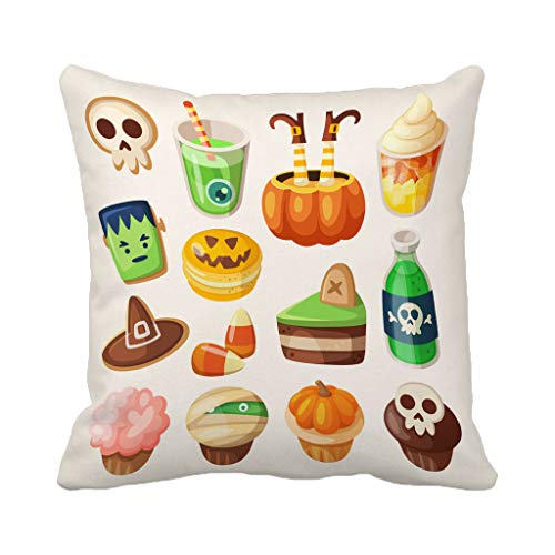 Batmerry Halloween/Thanksgiving Theme Decorative Pillow Covers 18 x 18 inch, Colorful Halloween Party Snacks Treats Food Cookie Drink Fruit Throw Pillows Covers Sofa Cushion Cover Pillowcase -