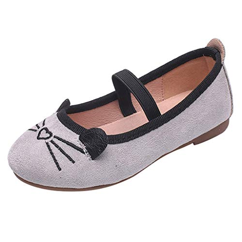 Beppter Bridal Ballet Flats Mary Jane School Shoes Girls Cat Pattern Princess Shoes Flat Soft Peas Shoes Party Casual Shoes(Gray, 10-10.5years) -
