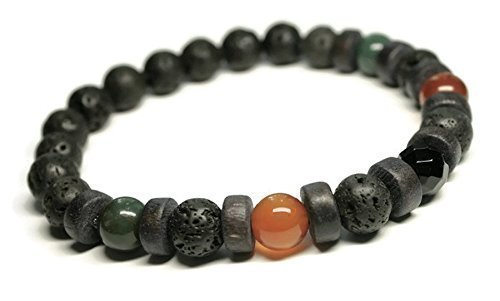 Unisex/Mens Gemstone Bracelet for Depression, Anti Anxiety, Stress Relief with Carnelian, Bloodstone, Black Onyx, Lava stones, Healing Holistic Jewelry,Aromatherapy, Oil Diffuser ()
