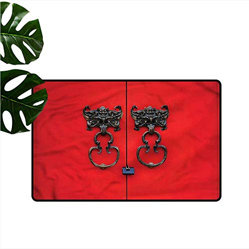- HOMEDD Bath mat,Rustic Door Knocker on Vintage Door,with No-Slip Backing,24