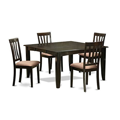 East West Furniture PFAN5-CAP-C 5 PC Dining Set-Table with Leaf & 4 Kitchen Chairs