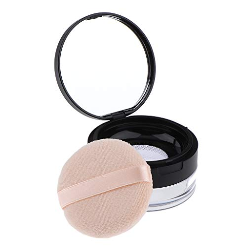 DYNWAVE 20g Empty Refill Make-up Loose Powder Case Container with Soft Sponge Puff Mirror & Mesh Sifter for Travel