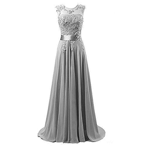 Edaier Womens Beaded Chiffon Evening Dresses Size 20 Silver