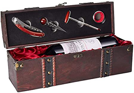 Set de Vino de Regalo con 1 Botella de Vino Tinto Cosecha 2018 Los Vascos Red Cabernet Sauvignon - en Caja de Madera con Set de Sommelier
