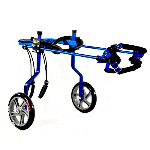 KAJILE Adjustable 2 Wheels Color Plating Aluminum Dog Wheelchair for Disabled Dogs' Hind Legs Rehabilitation, XXXS Size,Hip Height 5.91
