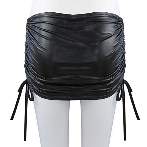 Nuit up string Brillant Hip de Noir Moulante Freebily l'intrieur avec Cuir en Jupe Jupe Mini Fluo Femmes Danse Plaisir Clubwear G Lingerie OUwqwv46