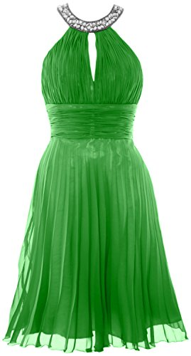 MACloth Women Halter Crystal Chiffon Short Evening Dress Cocktail Formal Gown Verde