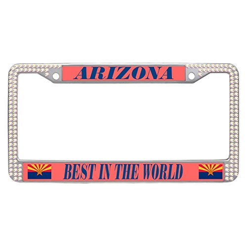 Dasokao Car Tag License Plate Frames Arizona (AZ), Rhinestones Bling Customizable License Plate Frame With Screw Set - Colorful (Arizona State Diamond Plate)
