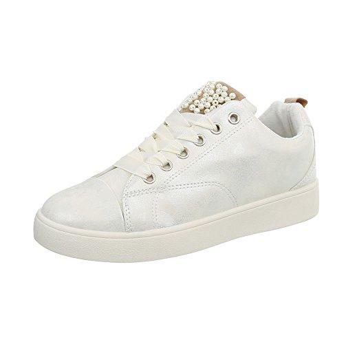 Piatto Scarpe 7555 Sneakers da Sneaker Design Ital Low Donna Argento SB5FXqB