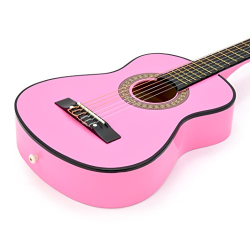 new 30 pink wood guitar with case and accessories great gift for kids girls beginners. Black Bedroom Furniture Sets. Home Design Ideas